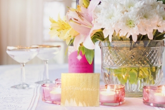 gold shimmer place card